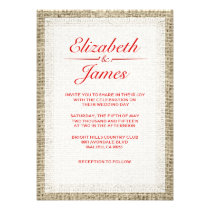 Red & White Vintage Burlap Wedding Invitations Personalized Invitations