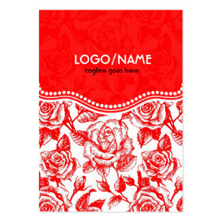 Red & White Vintage Roses Pattern-Customized Large Business Cards (Pack Of 100)