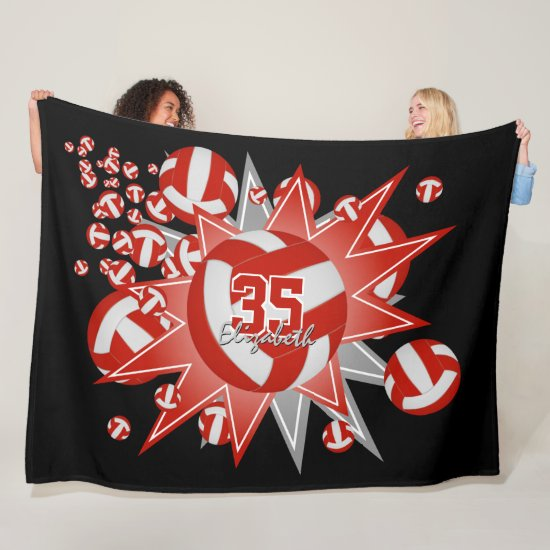 red white volleyball blowout girl boy sports room fleece blanket