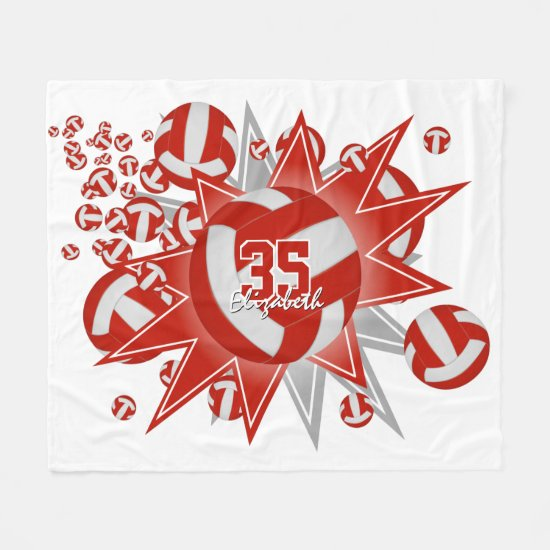 red white volleyball blowout sports room decor fleece blanket