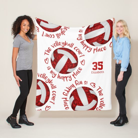 red white volleyball court happy place typography fleece blanket