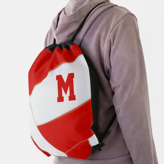 red white volleyball girls boys school team colors drawstring bag