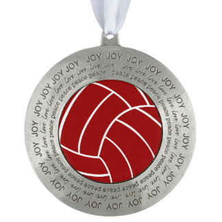 Red White Volleyball Holiday Christmas Ornament