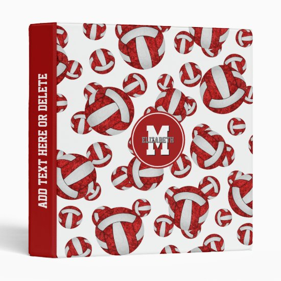 red white volleyballs sports girls team colors 3 ring binder