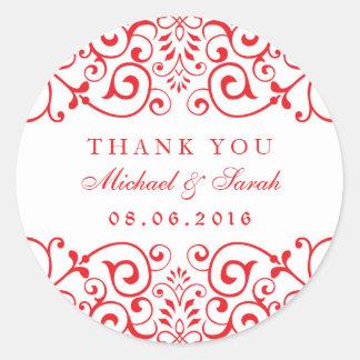 Red White Wedding Victorian Swirl Floral Sticker