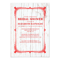 Red White Western Barn Wood Bridal Shower Invites