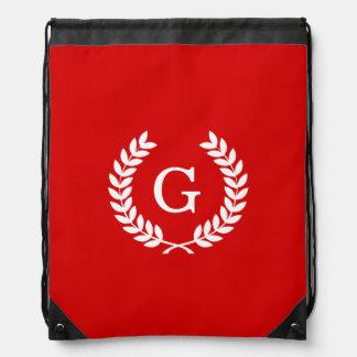 Red White Wheat Laurel Wreath Initial Monogram Drawstring Backpack