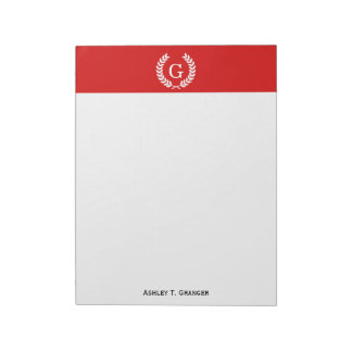 Red White Wheat Laurel Wreath Initial Monogram Note Pad