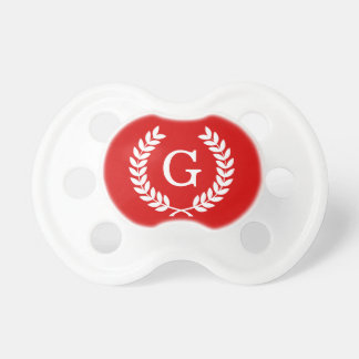 Red White Wheat Laurel Wreath Initial Monogram Baby Pacifiers
