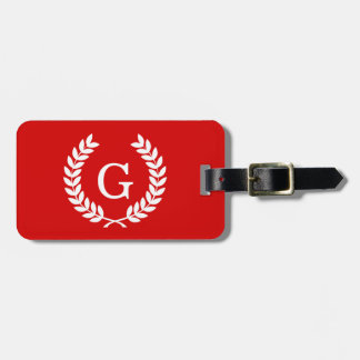 Red White Wheat Laurel Wreath Initial Monogram Tags For Bags