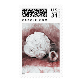 Red White Wine Floral Roses Bouquet Wedding Stamp