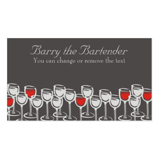 red white wine glasses sommelier catering busin... business cards