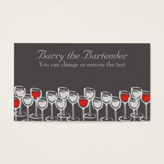 red white wine glasses sommelier catering busin... business card