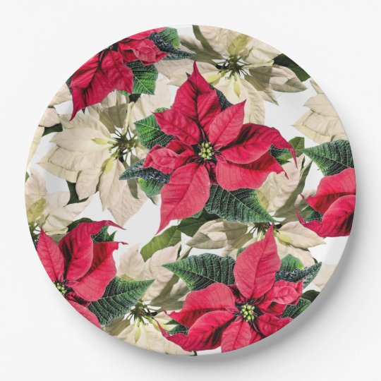 Red White Winter Poinsettia Flower Paper Plates Zazzle