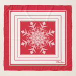 "Red White Winter Snowflake Square Chiffon Scarf<br><div class=""desc"">Red White Winter Snowflake (soft silver light greyish white) Square Chiffon Scarf.  Design by Claudine Boerner.</div>"