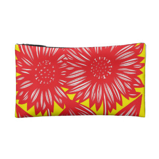 Red White Yellow Big Flowers Cosmetic Bag