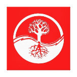 Red & white yin and yang canvas print