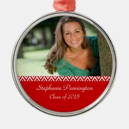 Red white zig zag graduation photo ornament
