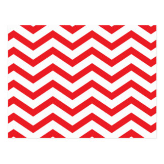 Red & White Zigzag Pattern Postcard