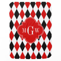 Red Wht Black Harlequin Red Quatrefoil 3 Monogram Baby Blanket