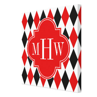 Red Wht Black Harlequin Red Quatrefoil 3 Monogram Stretched Canvas Print