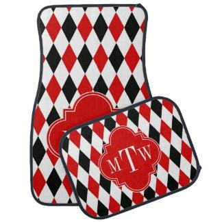 Red Wht Black Harlequin Red Quatrefoil 3 Monogram Car Floor Mat