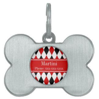Red Wht Black Harlequin Red Ribbon Name Monogram Pet ID Tags