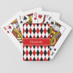 "Red Wht Black Harlequin Red Ribbon Name Monogram Playing Cards<br><div class=""desc"">Red, White and Black Harlequin Diamond Pattern, Red Ribbon Name Monogram Label Customize this with your name, monogram or other text. You can also change the font, adjust the font size and font color, move the text, etc. Please note that this is a digitally created graphic design that&#39;s transferred to...</div>"