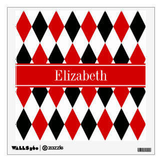 Red Wht Black Harlequin Red Ribbon Name Monogram Wall Stickers