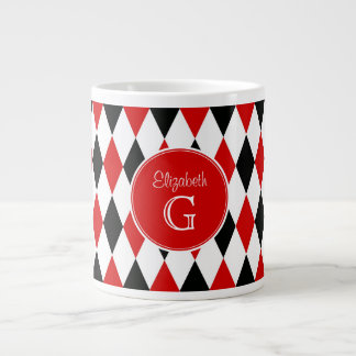 Red Wht Blk Harlequin Round Red Monogram #2 Large Coffee Mug