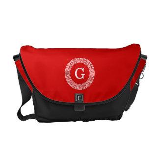 Red Wht Greek Key Rnd Frame Initial Monogram Courier Bag