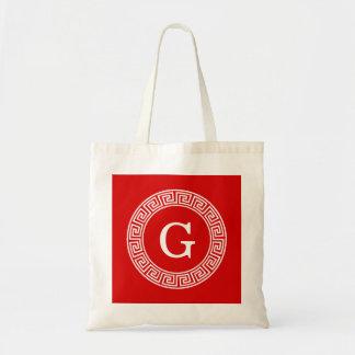 Red Wht Greek Key Rnd Frame Initial Monogram Tote Bag