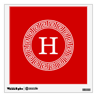 Red Wht Greek Key Rnd Frame Initial Monogram Wall Sticker