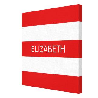 Red Wht Horizontal Preppy Stripe #3 Name Monogram Canvas Print