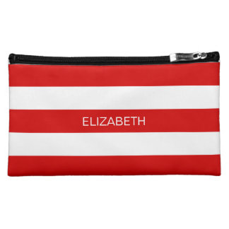 Red Wht Horizontal Preppy Stripe #3 Name Monogram Makeup Bag