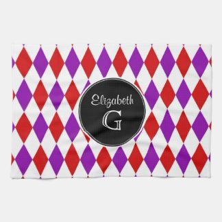 Red Wht Purple Harlequin Round Black Monogram Hand Towel
