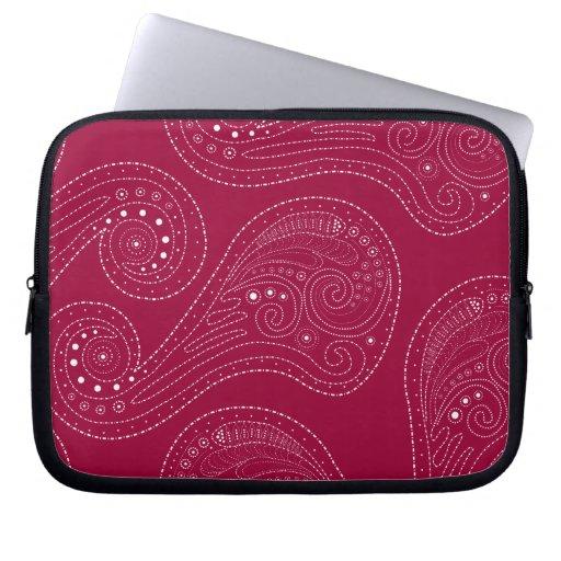 Red & Whtie Swirls Laptop Computer Sleeve