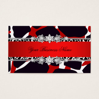 Red Wild Animal Black Jewel Look Image Business Card