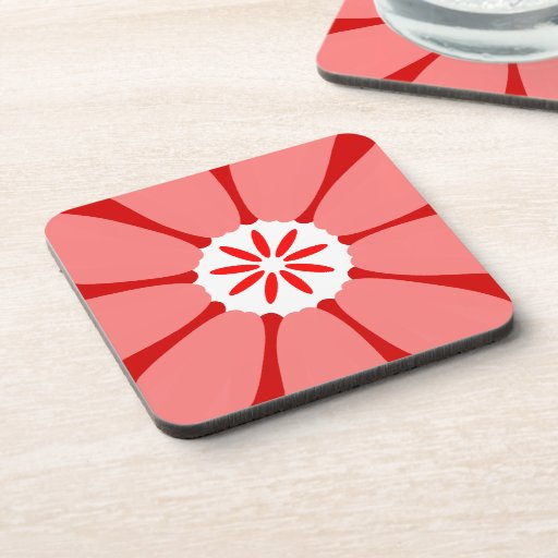 Red Wild Flower Beverage Coasters