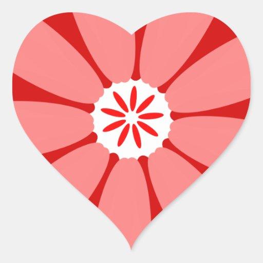 Red Wild Flower Heart Sticker