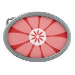 Red Wild Flower Oval Belt Buckle