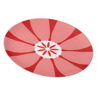 Red Wild Flower Plates