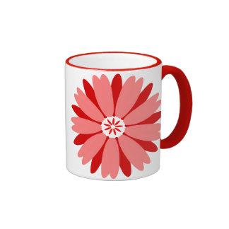 Red Wild Flower Ringer Coffee Mug