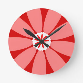 Red Wild Flower Round Wall Clock