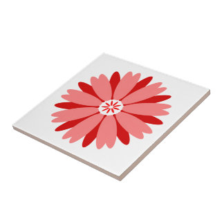 Red Wild Flower Small Square Tile
