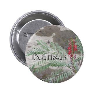 Red Wildflower Pinback Button