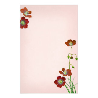 Red Wildflowers on Pink Wedding Stationery