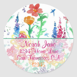 Red Wildflowers Watercolor Return Address Classic Round Sticker
