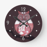 Red Willow Owl Wall Clock