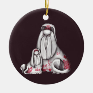 Red Willow Shih Tzus Ornaments